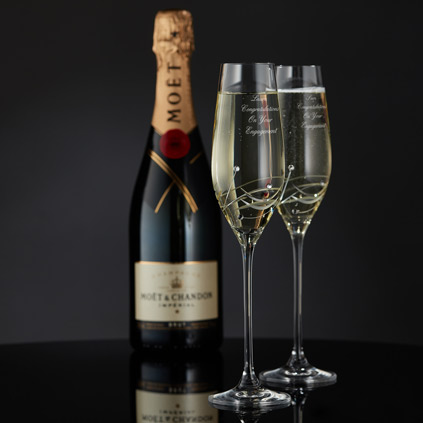 Engraved Champagne Flutes With Beautiful Swarovski Crystals