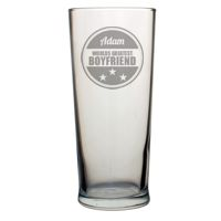 Personalised Pint Glass - Worlds Greatest Boyfriend