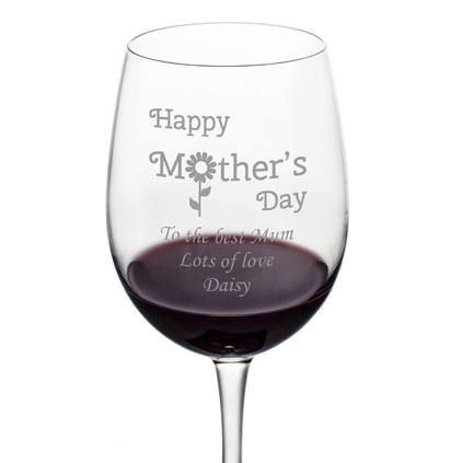 Mother's Day Daisy Wine Glass
