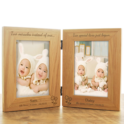 Personalised baby gifts and newborn baby presents twins personalised wooden frame negle Images