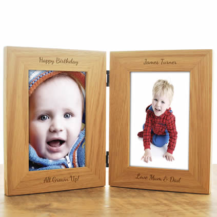 personalised double wooden frame - Double Picture Frame