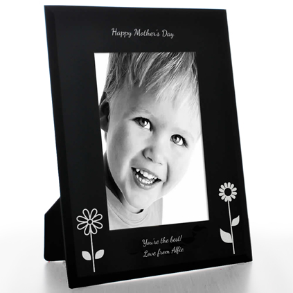 Personalised Mother's Day Black Glass Frame