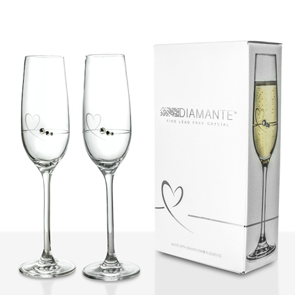 Personalised petite heart flutes - Petite flute a champagne ...