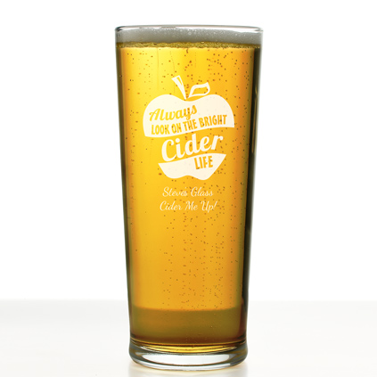Personalised Pint Glass Bright Cider Life