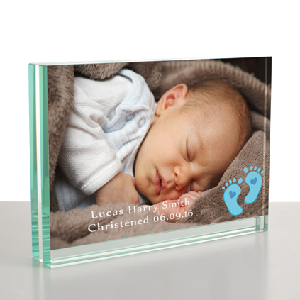 Personalised baby gifts photo album personalised baby blue feet glass frame 6 x 4 negle Gallery