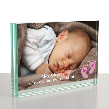 Personalised baby gifts and newborn baby presents personalised baby pink feet glass frame 6 x 4 negle Gallery
