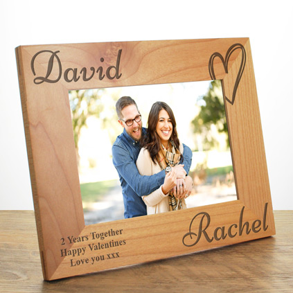 Personalised Love Heart Wooden Frame For Couples