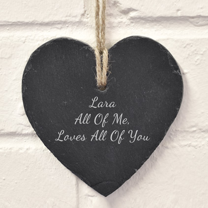 Personalised Slate Heart Hanging Keepsake Gift