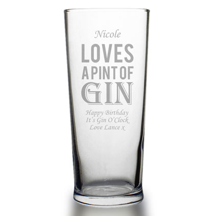Personalised Gin Pint Glass