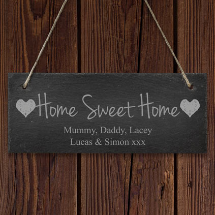 Personalised Hanging Slate Sign - Home Sweet Home