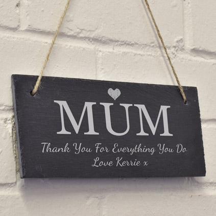 Personalised Hanging Slate Sign For Mum
