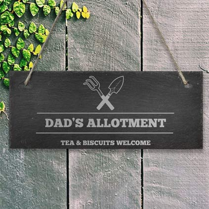 Personalised Hanging Slate Sign For The Allotment