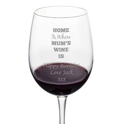 Personalised 'Home Is Where Mum's Wine Is' Wine Glass