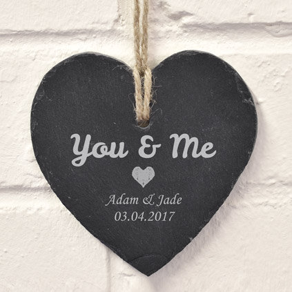 Personalised Hanging Heart Slate For You And Me