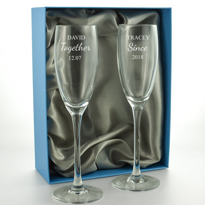 Personalised Pair of 'Together Since' Champagne Flutes