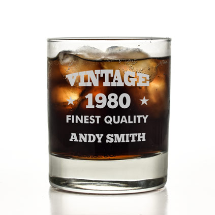 Personalised Vintage Finest Quality Glass Tumbler