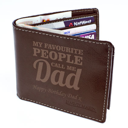 Personalised Brown Leather Wallet - My Favourite People Call Me Dad