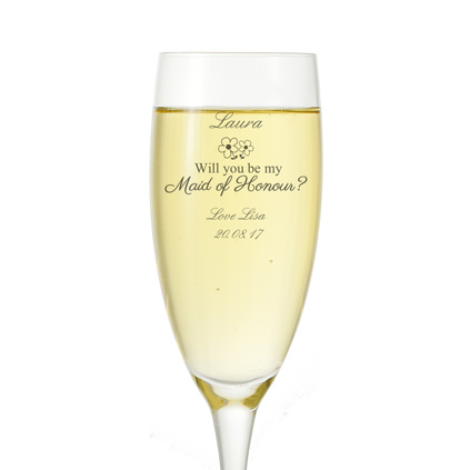 Champagne Flute//glass. Will you be my bridesmaid Gift Personalised Prosecco