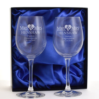 Personalised Mrs And Mrs Wine Glass Set