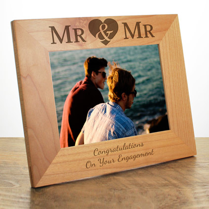Personalised Mr And Mr Wooden Photo Frame