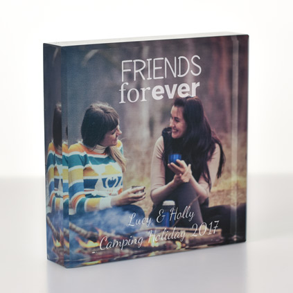 Personalised Photo Upload Glass Block Frame - Friends Forever