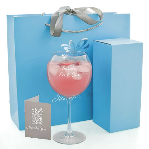 Personalised Gin Balloon Glass With Luxury Gift Bag And Box