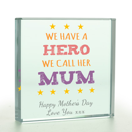 Personalised Glass Token - We Have A Hero We Call Mum