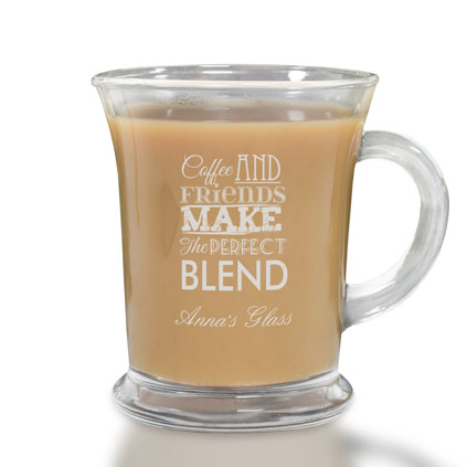 Coffee And Friends Make The Perfect Blend Personalised Glass Mug
