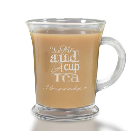 You Me And A Cup Of Tea Personalised Glass Mug
