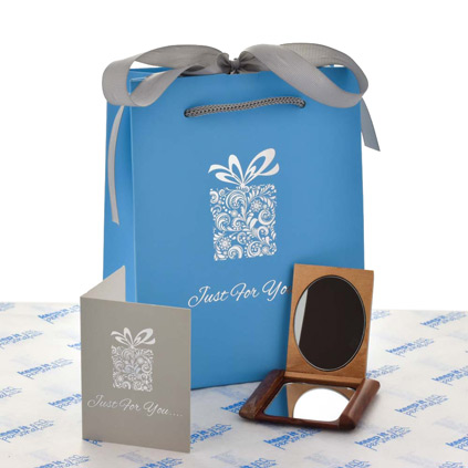Personalised Wooden Compact Mirror With Luxury Gift Bag