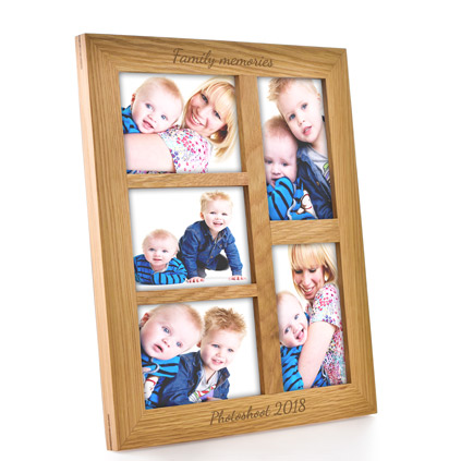 Personalised Oak Portrait Collage Frame