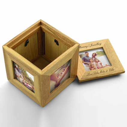 Personalised Oak Keepsake Photo Cube
