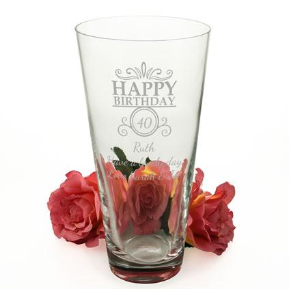 e0cccdd00c8 Personalised Happy Birthday Conical Vase  11385-SEMI