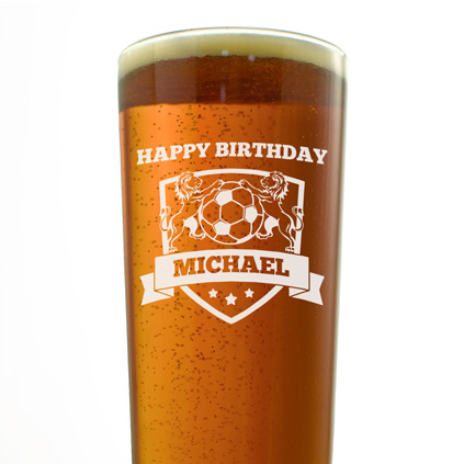 Personalised Football Badge Pint Glass