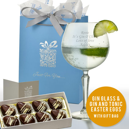 bbec6af9887 Personalised Vintage Gin Glass With Luxury Gin   Tonic Easter Eggs
