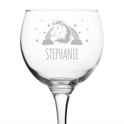 Personalised Unicorn Gin Glass