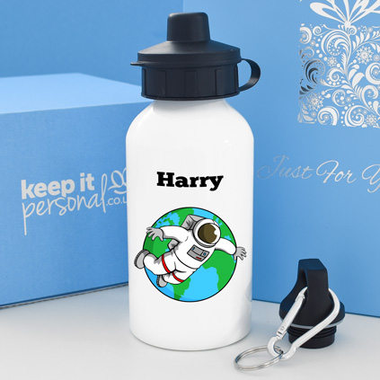 Personalised Spaceman Water Bottle 400ml Any Name
