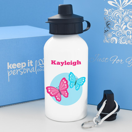 Personalised Butterfly Water Bottle 400ml Any Name