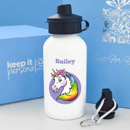 Personalised Unicorn Water Bottle 400ml Any Name