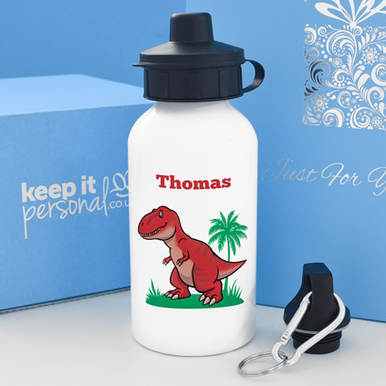 Personalised T-Rex Water Bottle 400ml Any Name