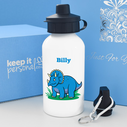 Personalised Triceratops Water Bottle 400ml Any Name