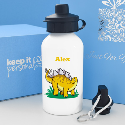 Personalised Stegosaurus Water Bottle 400ml Any Name