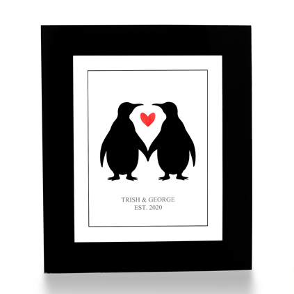Personalised Print - Penguin Love Heart