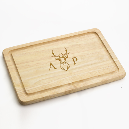 Personalised Chopping Board - Stag & Initial