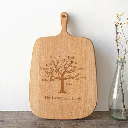 Personalised Handled Chopping Board - Family Tree