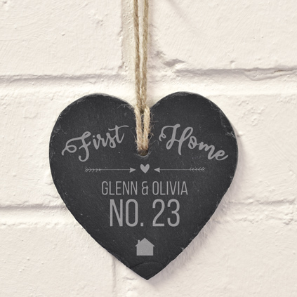 Personalised Hanging Slate Heart - Our First Home