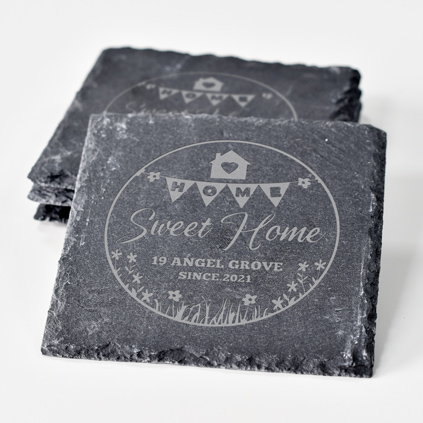 Personalised Slate Coaster Set - Home Sweet Home