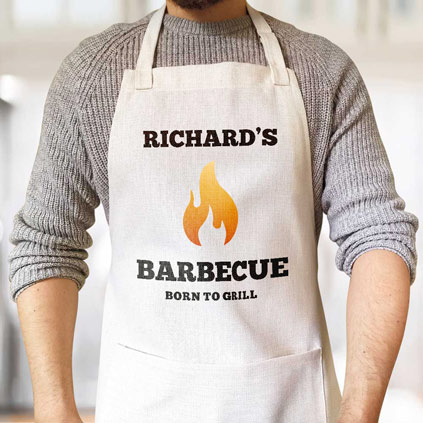 Personalised Apron - BBQ Flame Any Name And Message