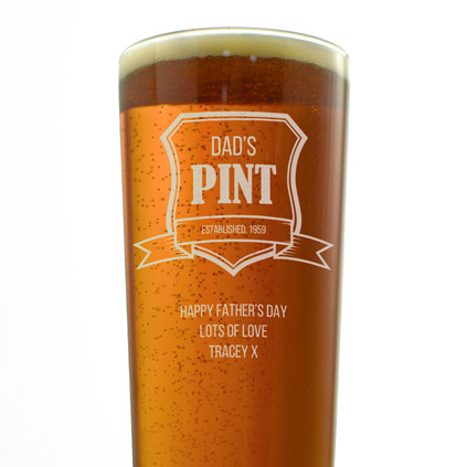 Personalised Pint Glass - Established Crest
