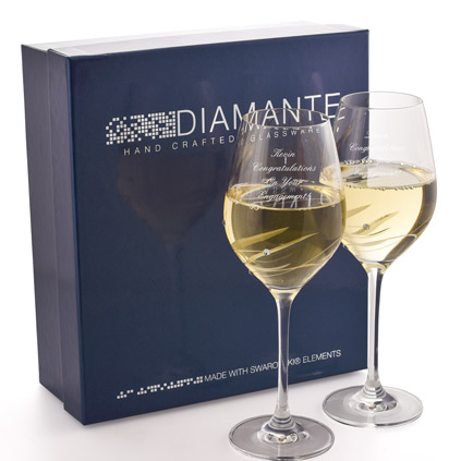 Personalised Wine Glass Set With Swarovski Elements
